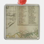 Un mapa de la isla de St John Adorno Cuadrado Plateado