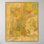Un mapa de los estados de Nueva Inglaterra Poster