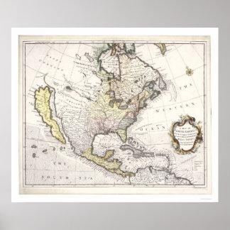 Un mapa de Norteamérica Póster