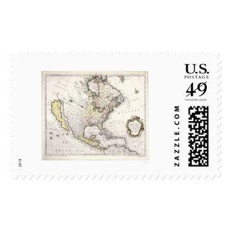 Un mapa de Norteamérica Sellos Postales
