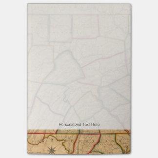 Un mapa del estado de Pennsylvania Post-it Nota