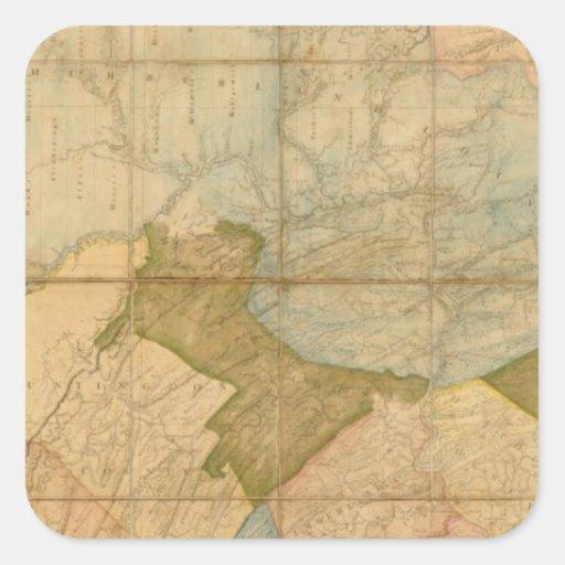 Un mapa del estado de Pennsylvania Pegatinas Cuadradas