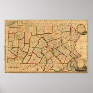 Un mapa del estado de Pennsylvania Póster