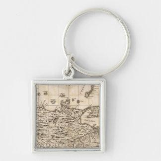Un mapa del Imperio británico en la hoja 19 de Amé Llavero Cuadrado Plateado