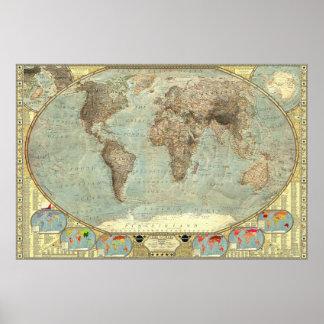 Un mapa del mundo de estereotipos póster