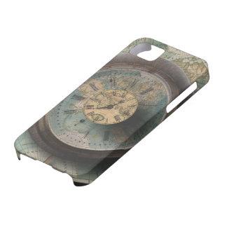 Un mapa del mundo del reloj de Steampunk del tiemp iPhone 5 Funda