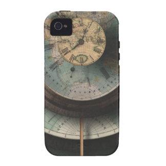 Un mapa del mundo del reloj de Steampunk del tiemp Vibe iPhone 4 Carcasa