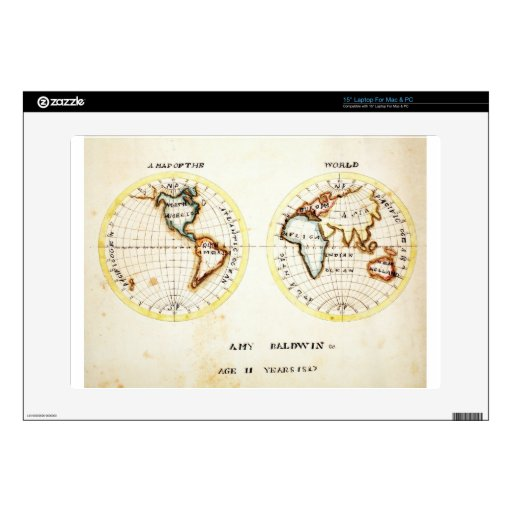 Un mapa del sc de Baldwin del Amy del mundo Skins Para 38,1cm Portátil