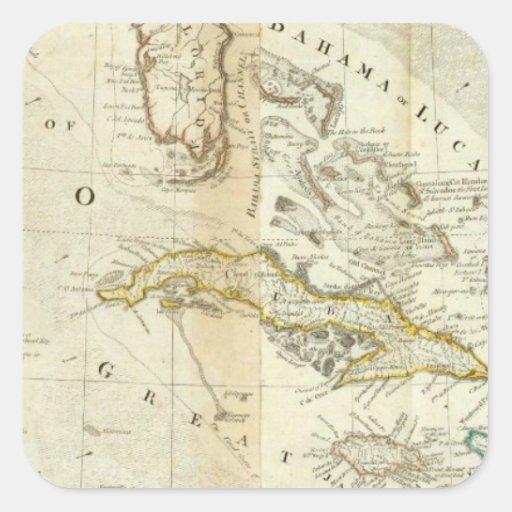 Un mapa exacto de la sección del sur de pegatina cuadrada