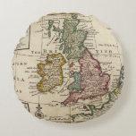 Un mapa general de Gran Bretaña y de Irlanda Cojín Redondo