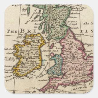 Un mapa general de Gran Bretaña y de Irlanda Pegatina Cuadrada
