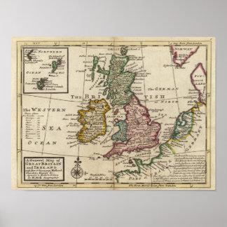 Un mapa general de Gran Bretaña y de Irlanda Póster