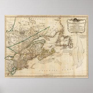 Un mapa general de las colonias británicas septent poster