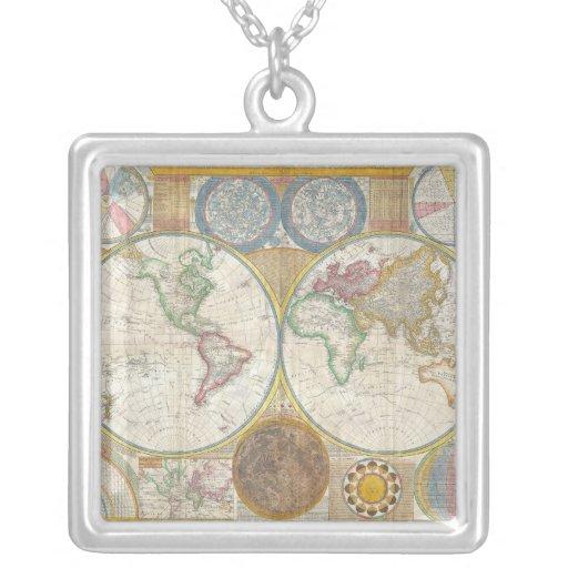 Un mapa general del mundo de Samuel Dunn 1794 Colgante Cuadrado