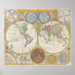 Un mapa general del mundo de Samuel Dunn 1794 Impresiones