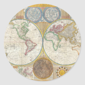 Un mapa general del mundo de Samuel Dunn 1794 Pegatina Redonda