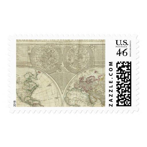 Un mapa general del mundo o del globo terráqueo sellos