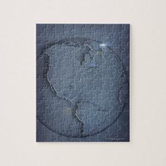 Un mapa global azul simple de la demostración de l rompecabeza