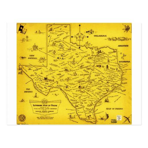 Un mapa literario de Tejas por el Pub Lib (1955) Postales