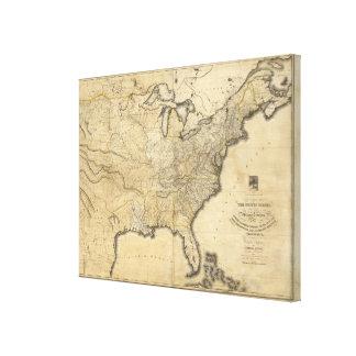 Un mapa nuevo y correcto de los Estados Unidos Impresiones En Lona Estiradas