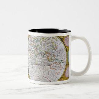 Un mapa nuevo y correcto del mundo, 1770-97 taza de café de dos colores
