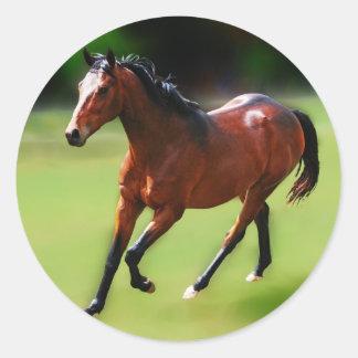 Un medio galope de los caballos pegatina redonda