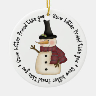 Un mejor amigo de la nieve que usted adorno navideño redondo de cerámica