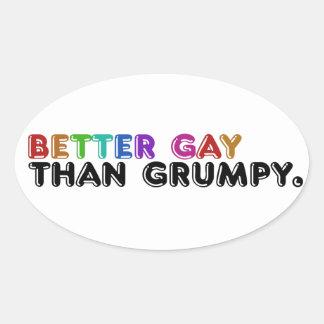 Un mejor gay que gruñón pegatina ovalada