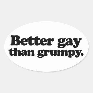 Un mejor gay que gruñón pegatinas de oval