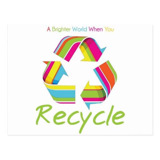 Un mejor mundo cuando usted recicla postal