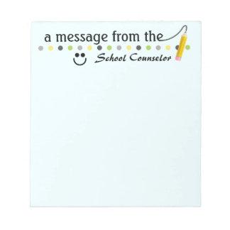 Un mensaje del cuaderno de notas del consejero de blocs de notas