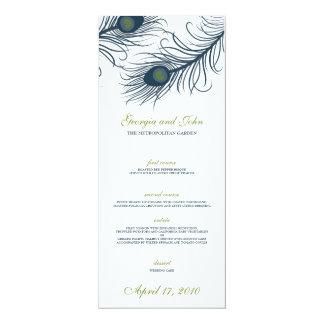 """Un menú del boda del pavo real invitación 4"""" x 9.25"""""""