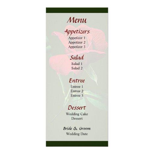Un menú rojo del capullo de rosa… lona