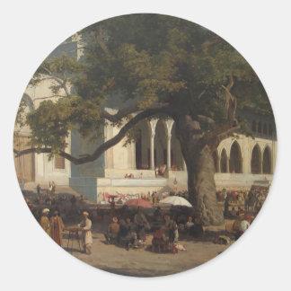 Un mercado ocupado de Karl von Eckenbrecher Pegatina Redonda