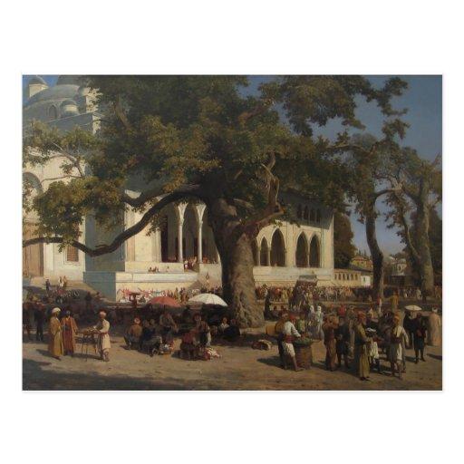 Un mercado ocupado de Karl von Eckenbrecher Tarjeta Postal