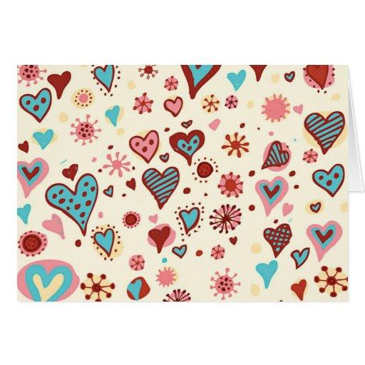 Un modelo de corazones tarjeta de felicitación