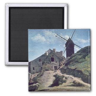 Un molino de viento en Montmartre, 1840-45 Imán De Nevera