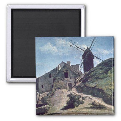Un molino de viento en Montmartre, 1840-45 Imán Cuadrado