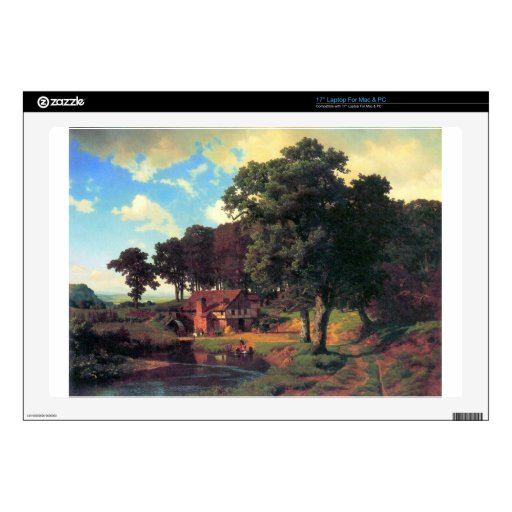 Un molino rústico por Bierstadt Calcomanías Para 43,2cm Portátiles