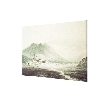 Un monasterio en un valle alpino washe gris y azu impresión en lona