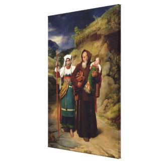 Un monje que ayuda a un peregrino lona estirada galerías