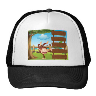 Un mono del baile gorras de camionero