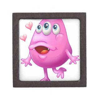 Un monstruo rosado con dos corazones cajas de joyas de calidad