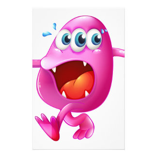 Un monstruo rosado tres-observado de la gorrita papelería