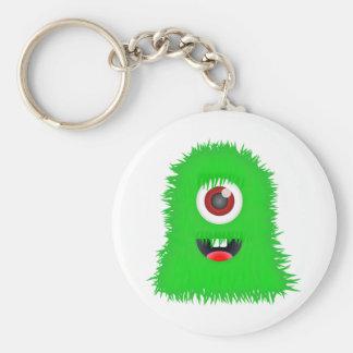 Un monstruo verde observado llavero redondo tipo pin