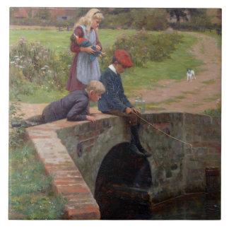 Un mordisco, 1914 (aceite en el panel) azulejo cuadrado grande