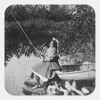 Un mordisco leve - vintage Stereoview 1906 B&W Pegatina Cuadrada