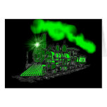 Un motor verde de neón muy brillante del tren tarjetas