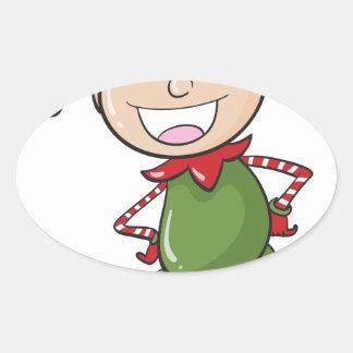 un muchacho en vestido verde del comodín pegatina ovalada