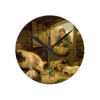 Un muchacho que mira en una pocilga de cerdo, 1794 reloj redondo mediano
